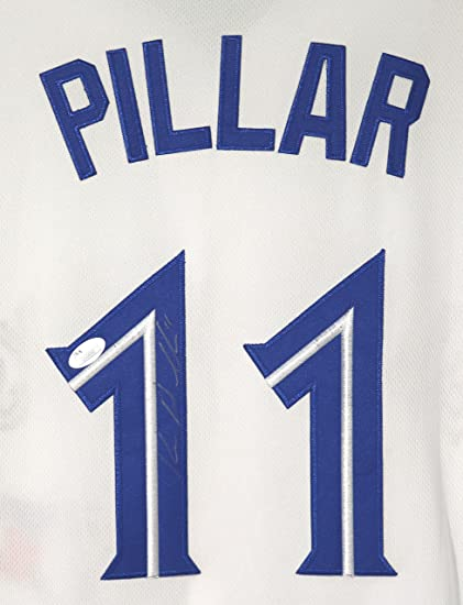 9503d74731b Image Unavailable. Image not available for. Color  Kevin Pillar Toronto  Blue Jays Signed Autographed White  11 Jersey ...