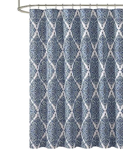 Amazon VCNY Home Blue Purple Gray Green Fabric Shower Curtain