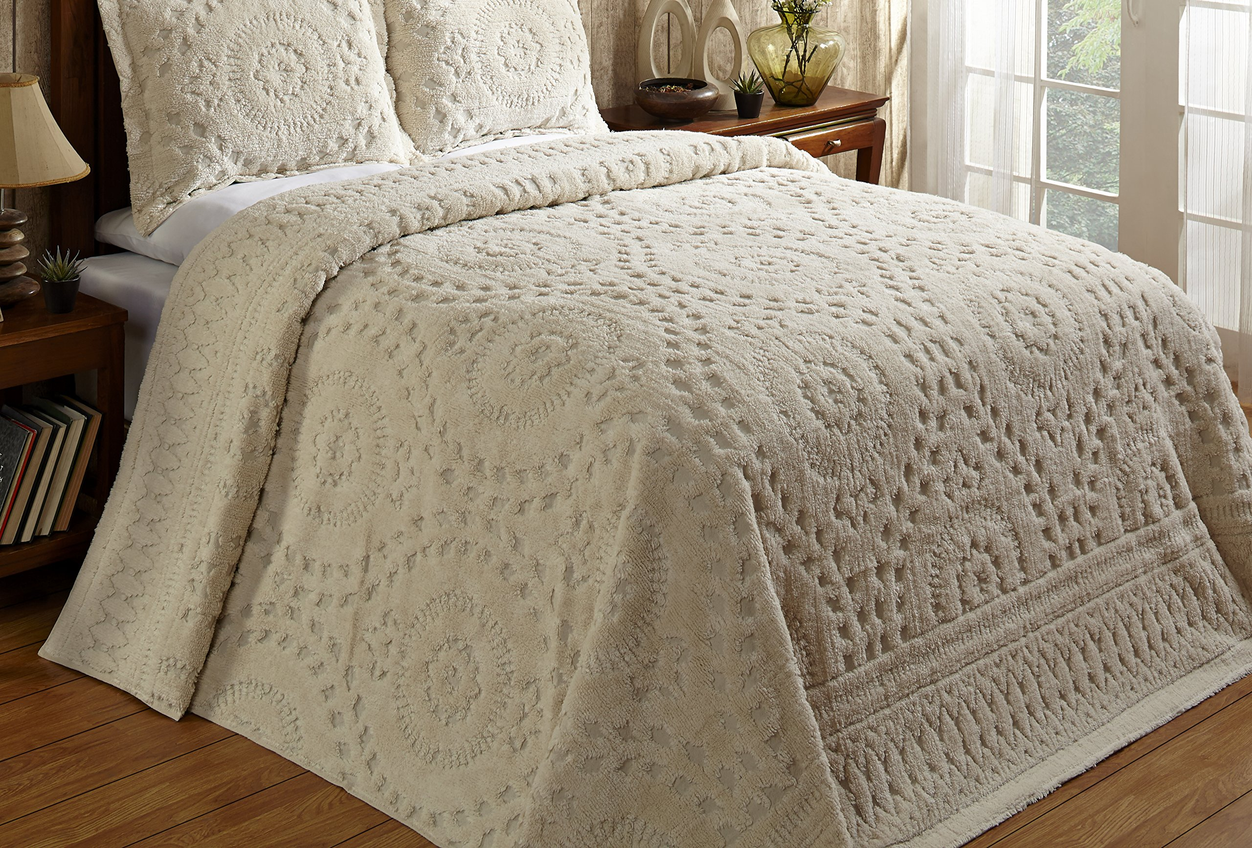 Better Trends / Pan Overseas 96 x 110'' Rio Bedspread, Full, Ivory