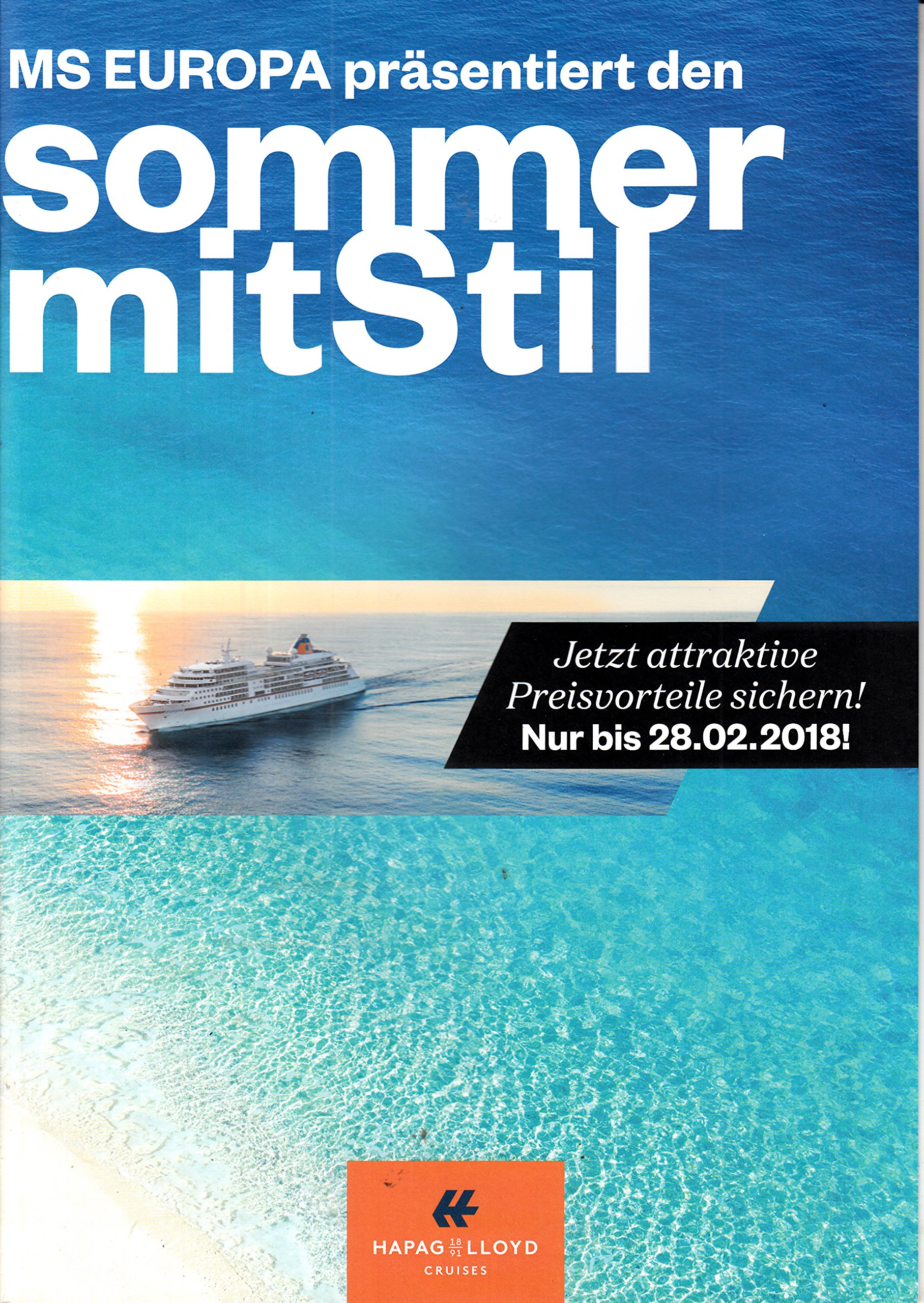 besser Modern und elegant in der Mode Outlet zum Verkauf Hapag Lloyd Folder 2018 MS Europa Sommer mit Stil Werbung ...
