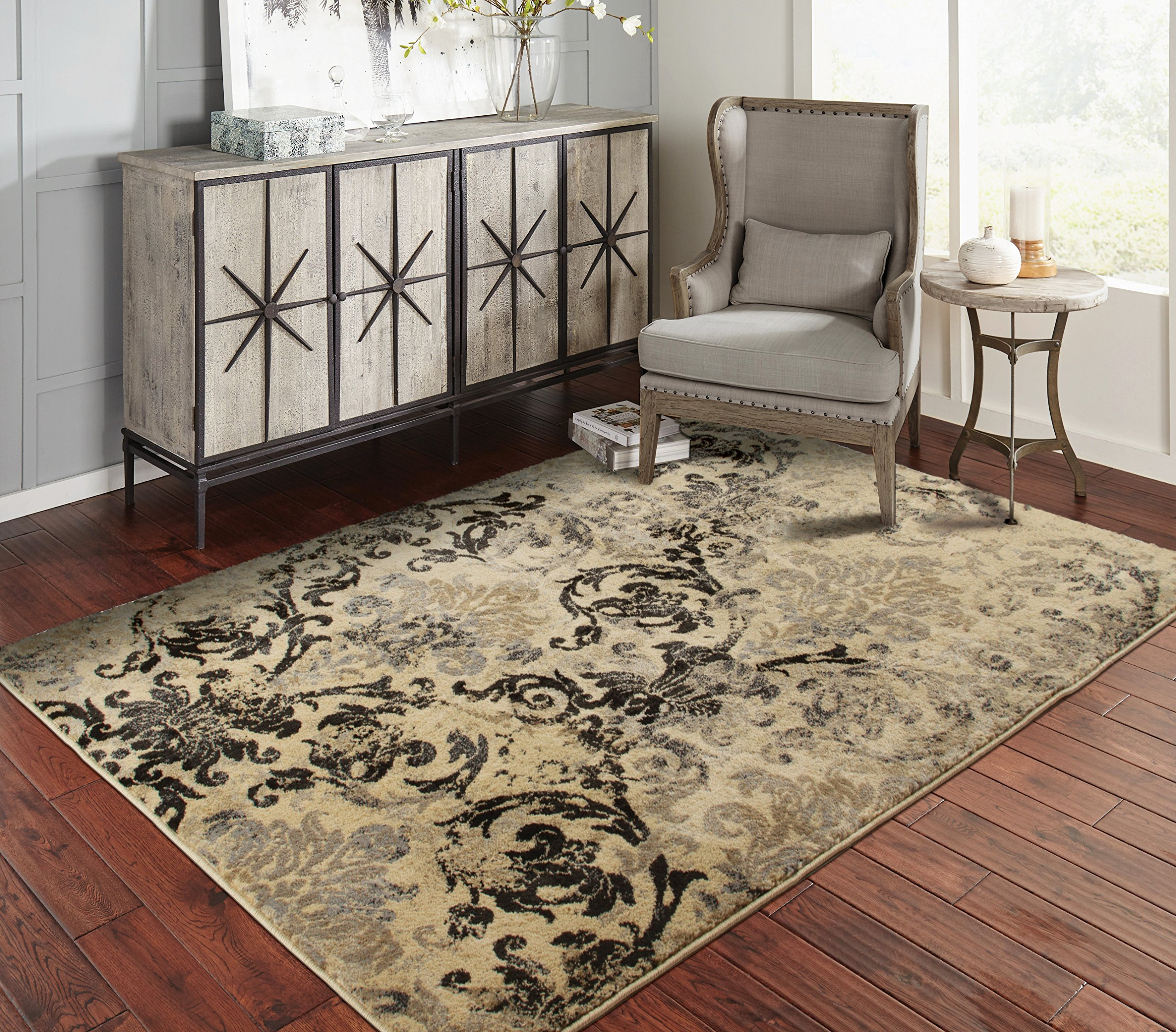 A.S Quality Rugs Modern Distressed Rugs for Living Room 5x7 Black Clearance Rugs for Bedroom 5x8 by A.S Quality Rugs