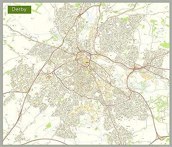 Map Of Uk Derby.Derby Street Map Paper Size 158 X 185 Cm Amazon Co Uk Office