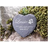 Memorial Plaque Personalised Engraved Natural Slate Heart Shape Pet Grave Marker