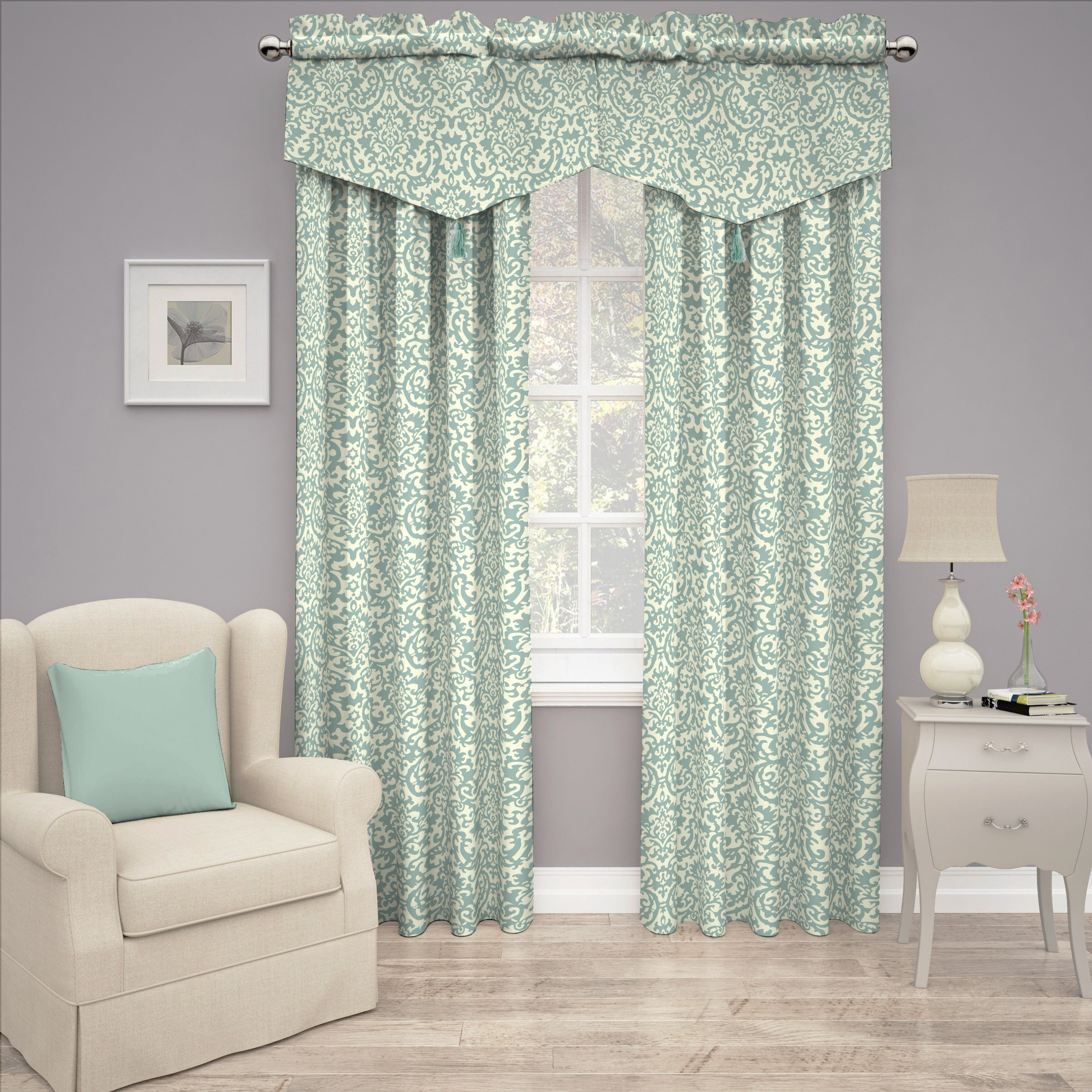 Traditions By Waverly 14974052021SPA Duncan Damask 52-Inch by 21-Inch Window Valance, Spa