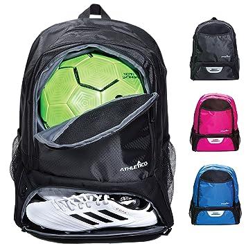 Athletico - Bolsa de deporte para jóvenes, para fútbol, baloncesto, voleibol y fútbol, para niños y jóvenes, incluye un compartimento separado para ...