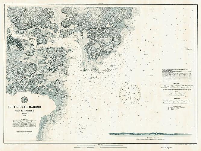 Amazon.com: Portsmouth Harbor, New Hampshire & Maine - 1876 Nautical ...