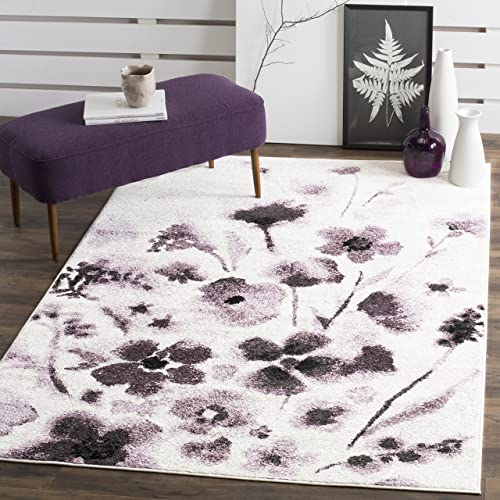 Safavieh Adirondack Collection ADR127L Ivory and Purple Vintage Floral Area Rug 4 x 6