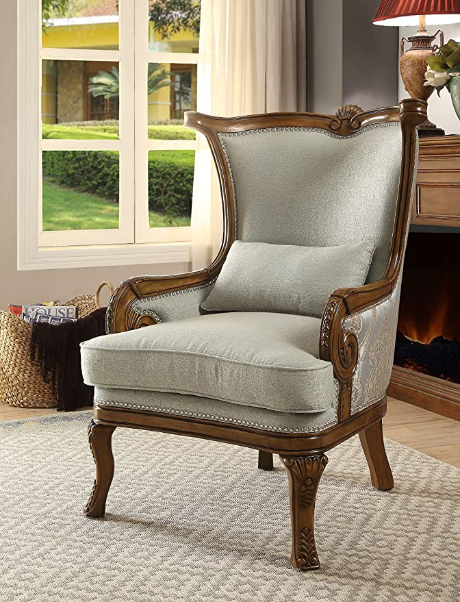 Acme 59563 Darian Accent Chair & Pillow, Light Blue Fabric & Oak
