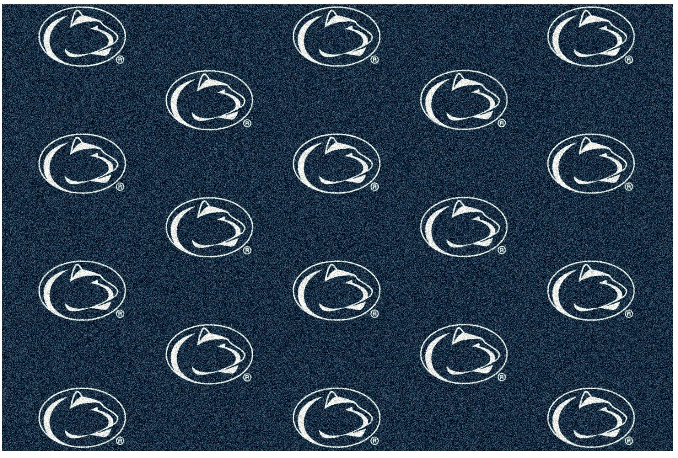 8'x10' PENN STATE - Milliken NCAA College Sports Team Repeat Logo 100% Nylon Pile Fiber Broadloom Custom Area Rug Carpet with Premium Bound Edges by Koeckritz