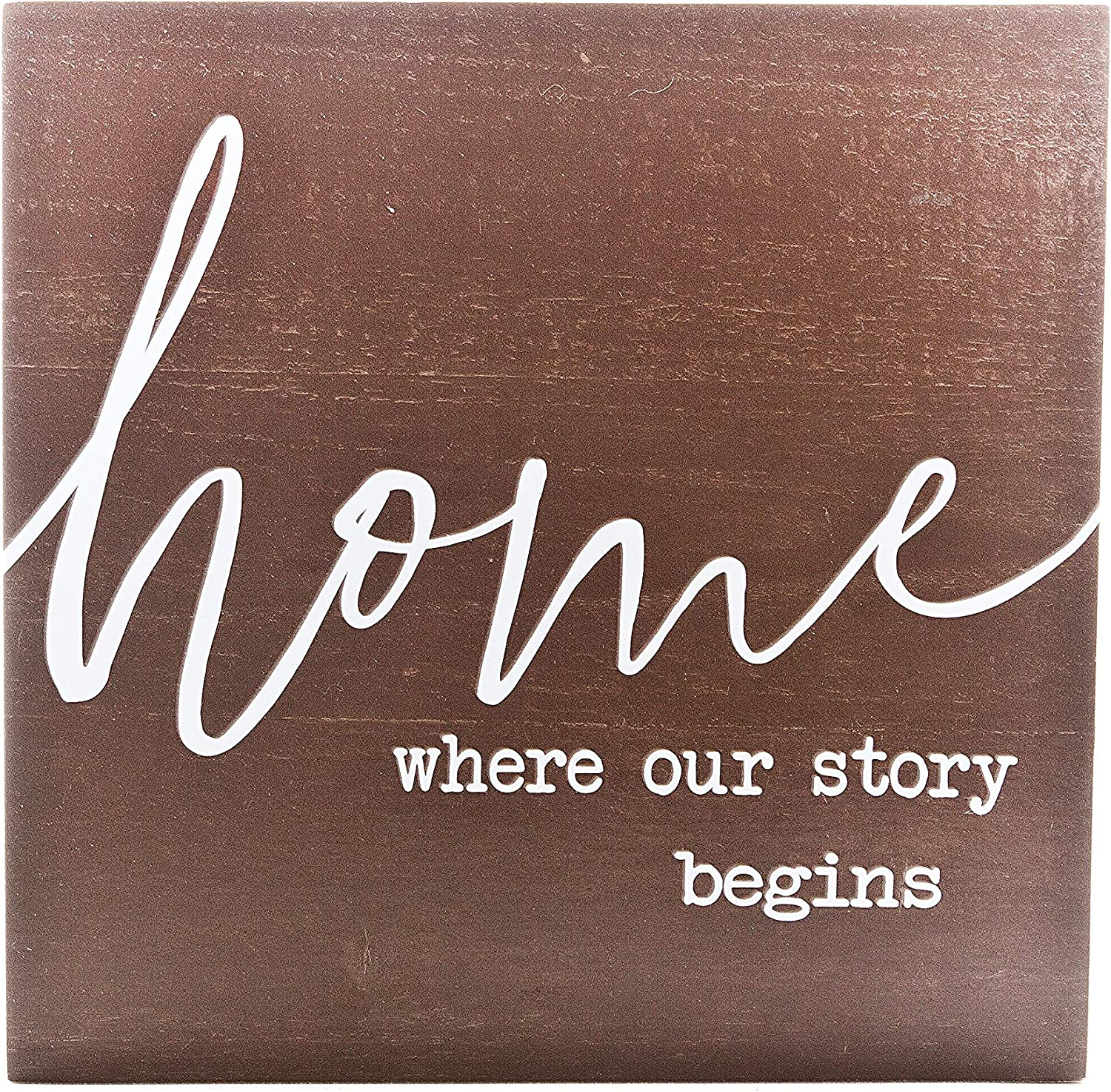 """Home Where Our Story Begins"" Wooden Box Sign - Inspirational Decor"