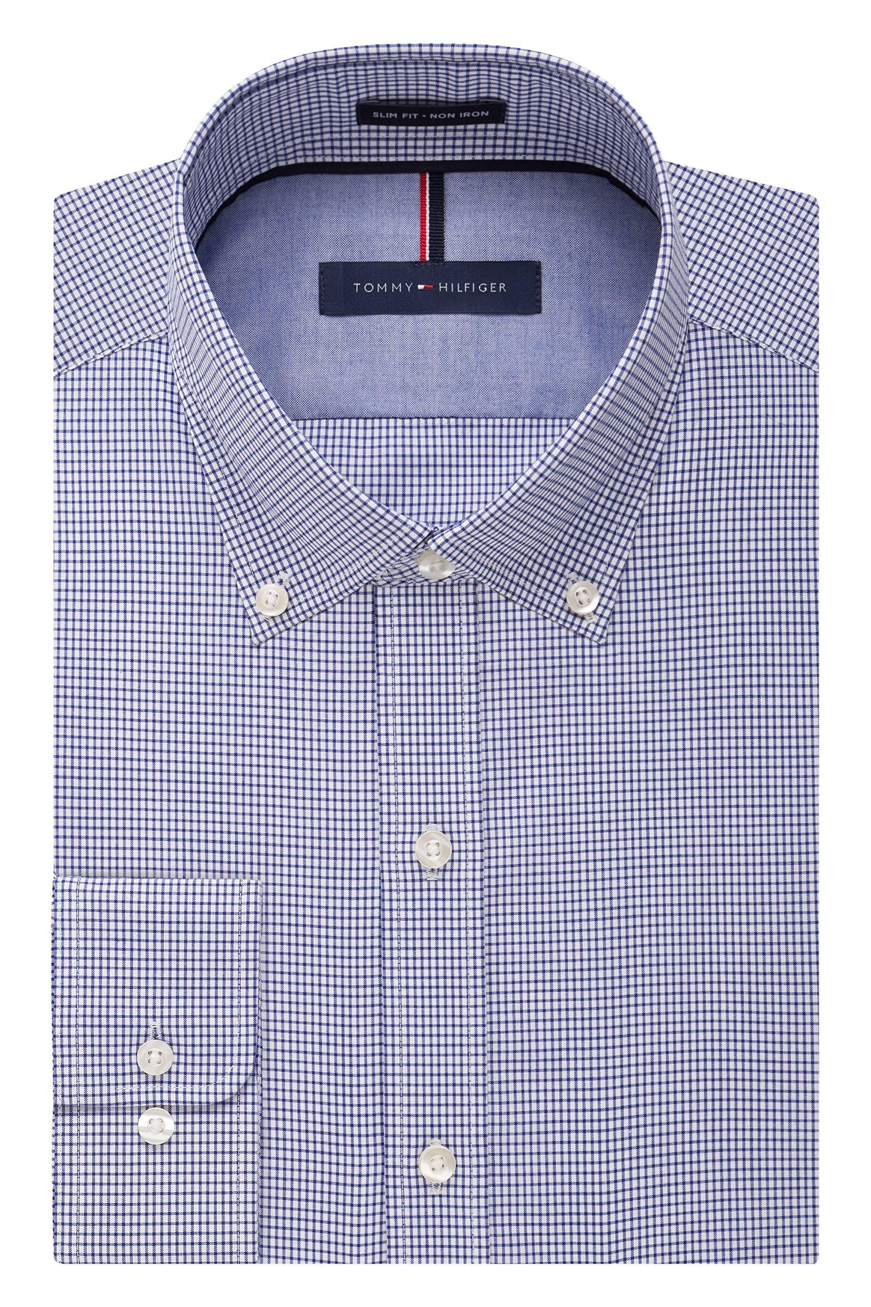 Tommy Hilfiger Men's Non Iron Slim Fit Check Button Down Collar Dress Shirt, Ocean, 16.5'' Neck 34''-35'' Sleeve