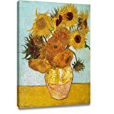 """Artkisser Vincent Van Gogh Sunflowers (Vase with Twelve Sunflowers ) Art Poster Print Framed Canvas Painting Ready to Hang 12""""X16""""(included blossom pillowcase)"""