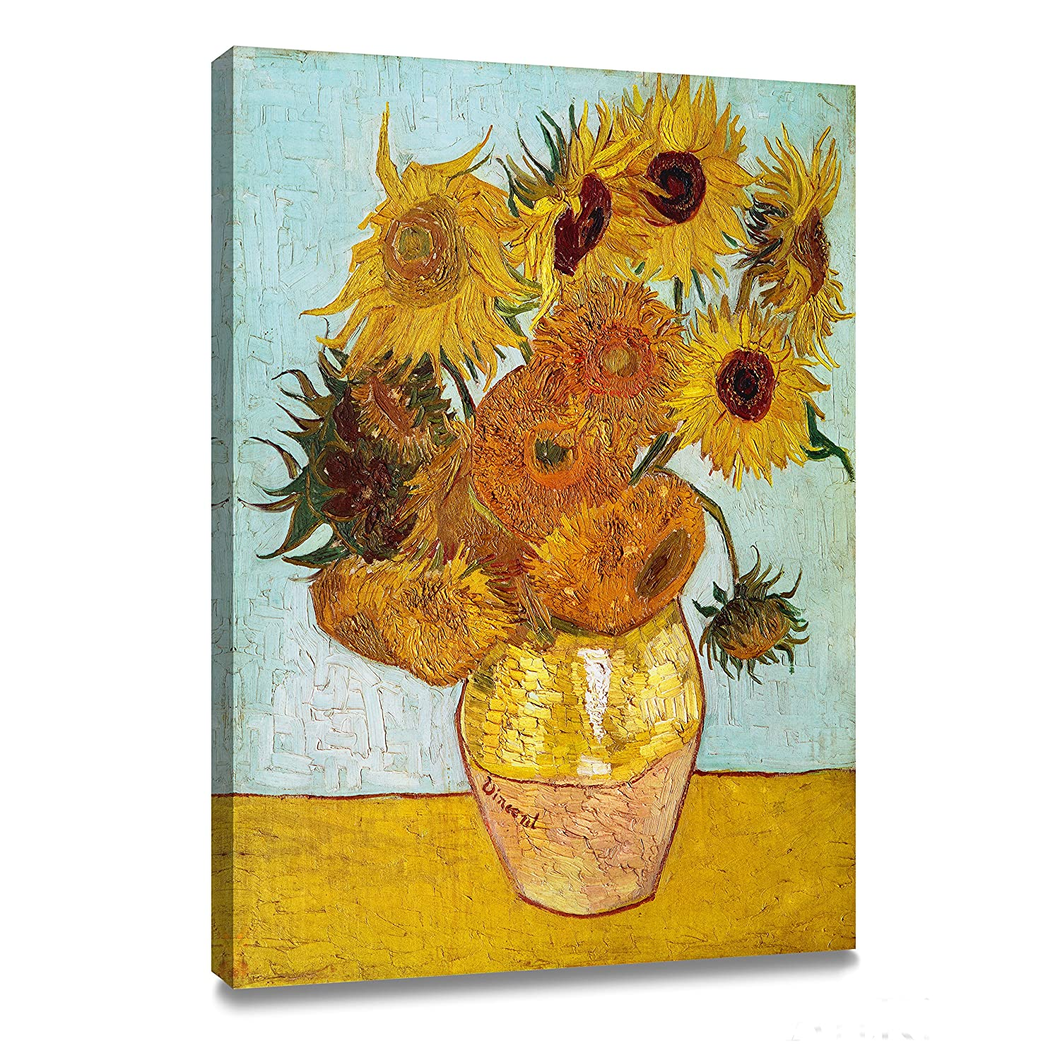 Amazon wieco art sunflower by vincent van gogh oil artkisser vincent van gogh sunflowers vase with twelve sunflowers art poster print framed canvas painting ready to hang 12x16 reviewsmspy