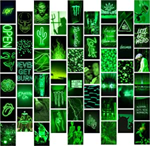 8TEHEVIN 50PCS Green Neon Aesthetic Pictures Wall Collage Kit, Aesthetic Posters for Dorm Photo Wall Decor, Wall Art Prints for VSCO Girls, Neon Posters Collections, Bedroom Decor for Teen Girl