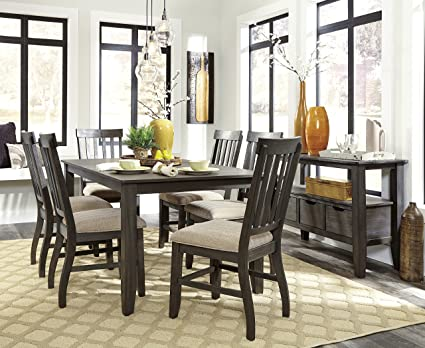 Drosbar Wood Grayish Brown Color Dining Room Set: Rectangle Table With 6  Chairs, Server