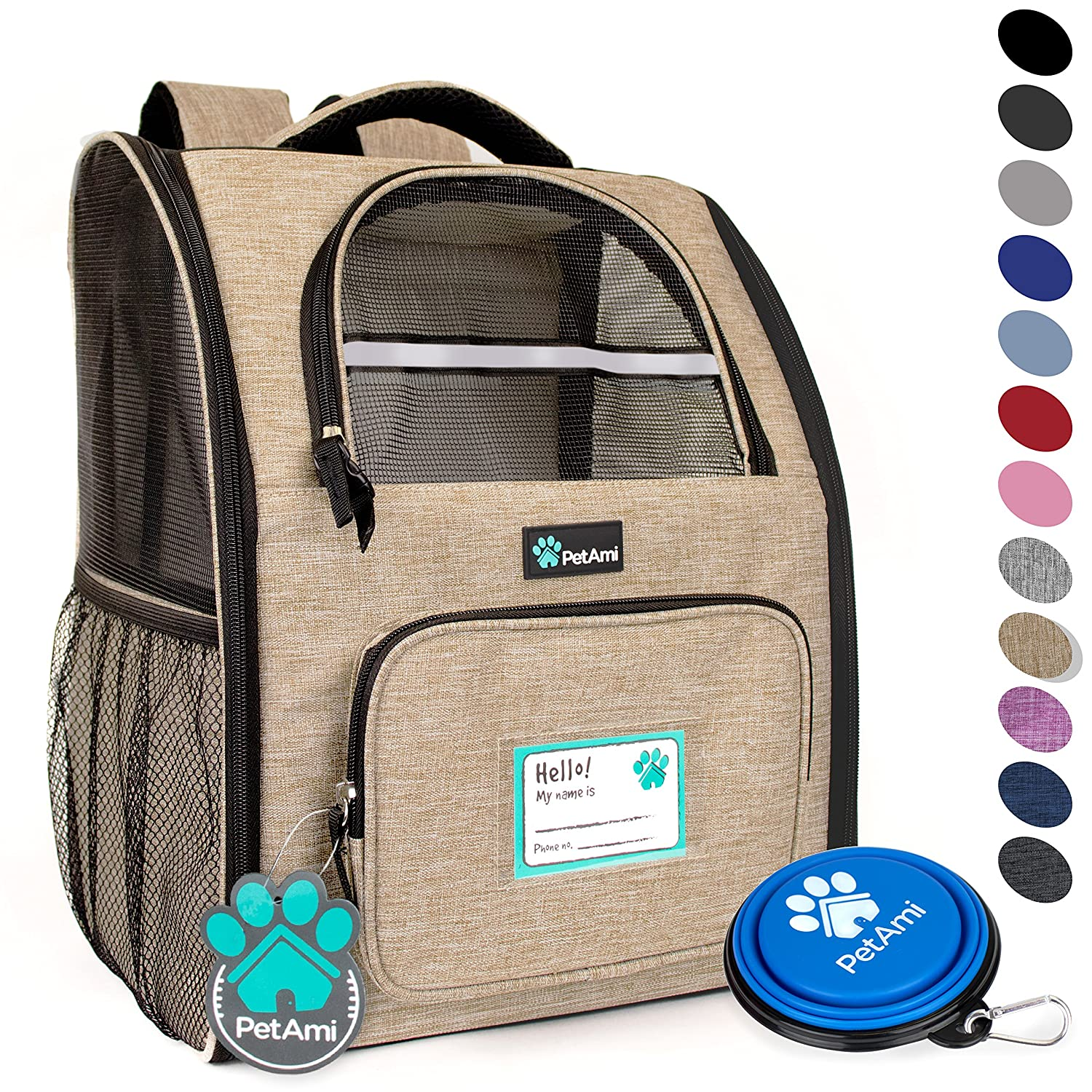 Heather Taupe PetAmi Deluxe Pet Carrier Backpack for Small Cats and Dogs, Puppies   Ventilated Design, Two-Sided Entry, Safety Features and Cushion Back Support   for Travel, Hiking, Outdoor Use (Heather Taupe)