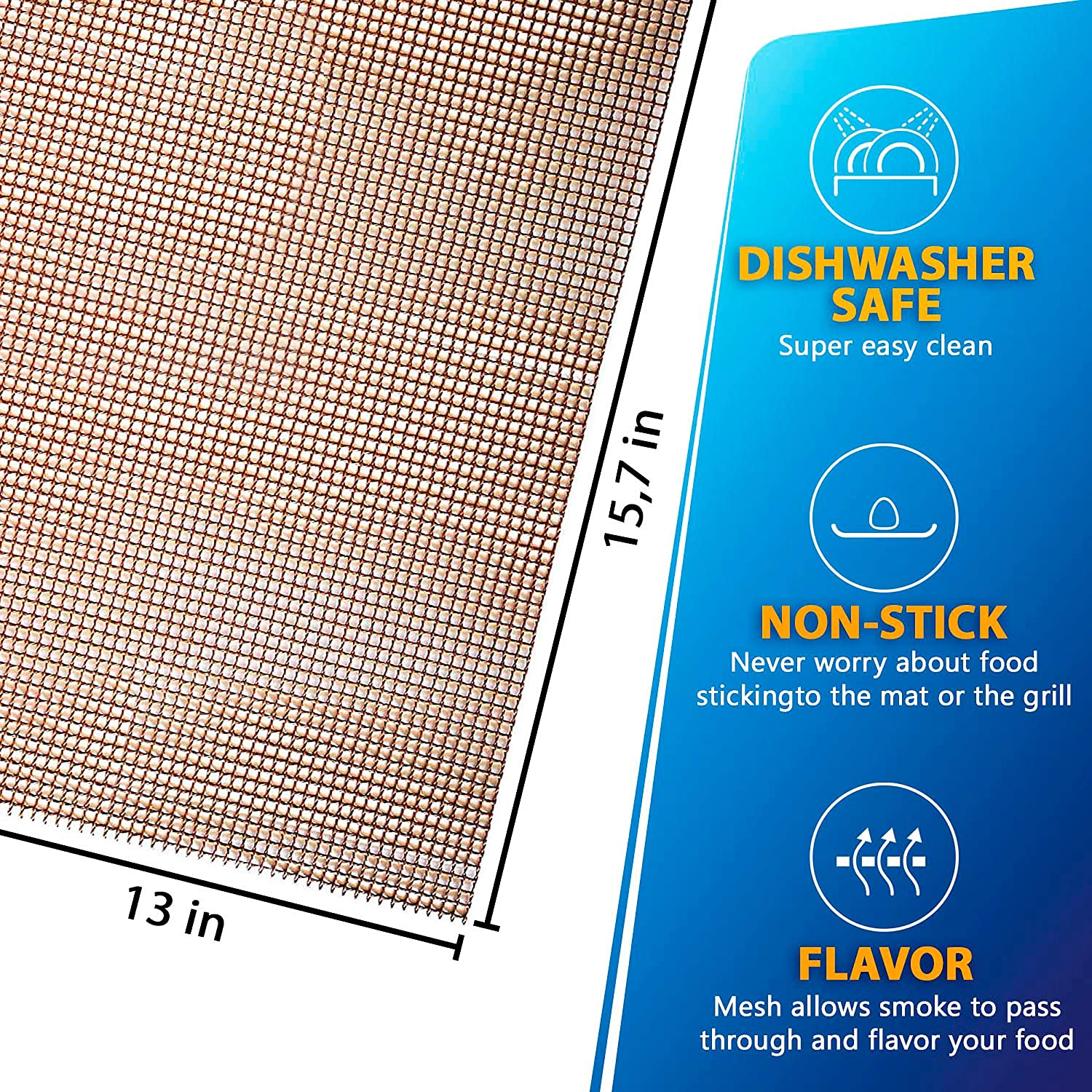 Set of 5 Copper Grill Mats for Outdoor Grill Reusable Heavy Duty for Electric Grill Gas Charcoal Grill 15.75 X 13 inch Non-Stick BBQ Grill Mat Copper