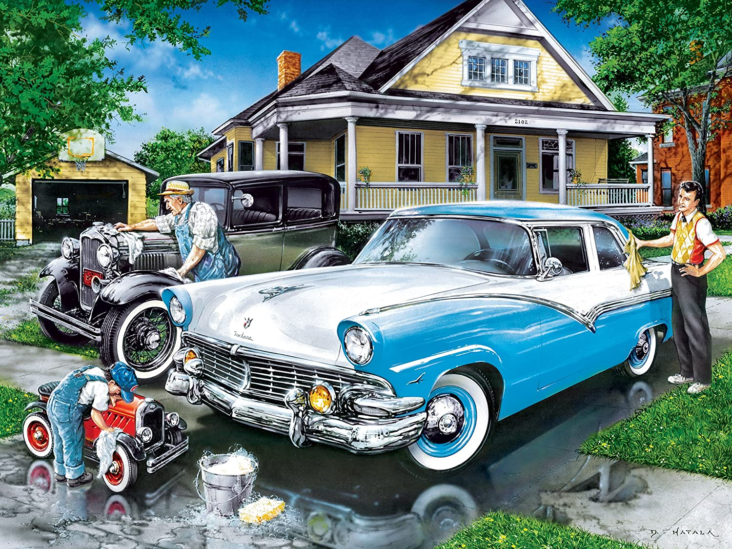 Amazon.com: MasterPieces Family Hour Three Generations Father, Son & Cars Jigsaw Puzzle, 400-Piece: Toys & Games