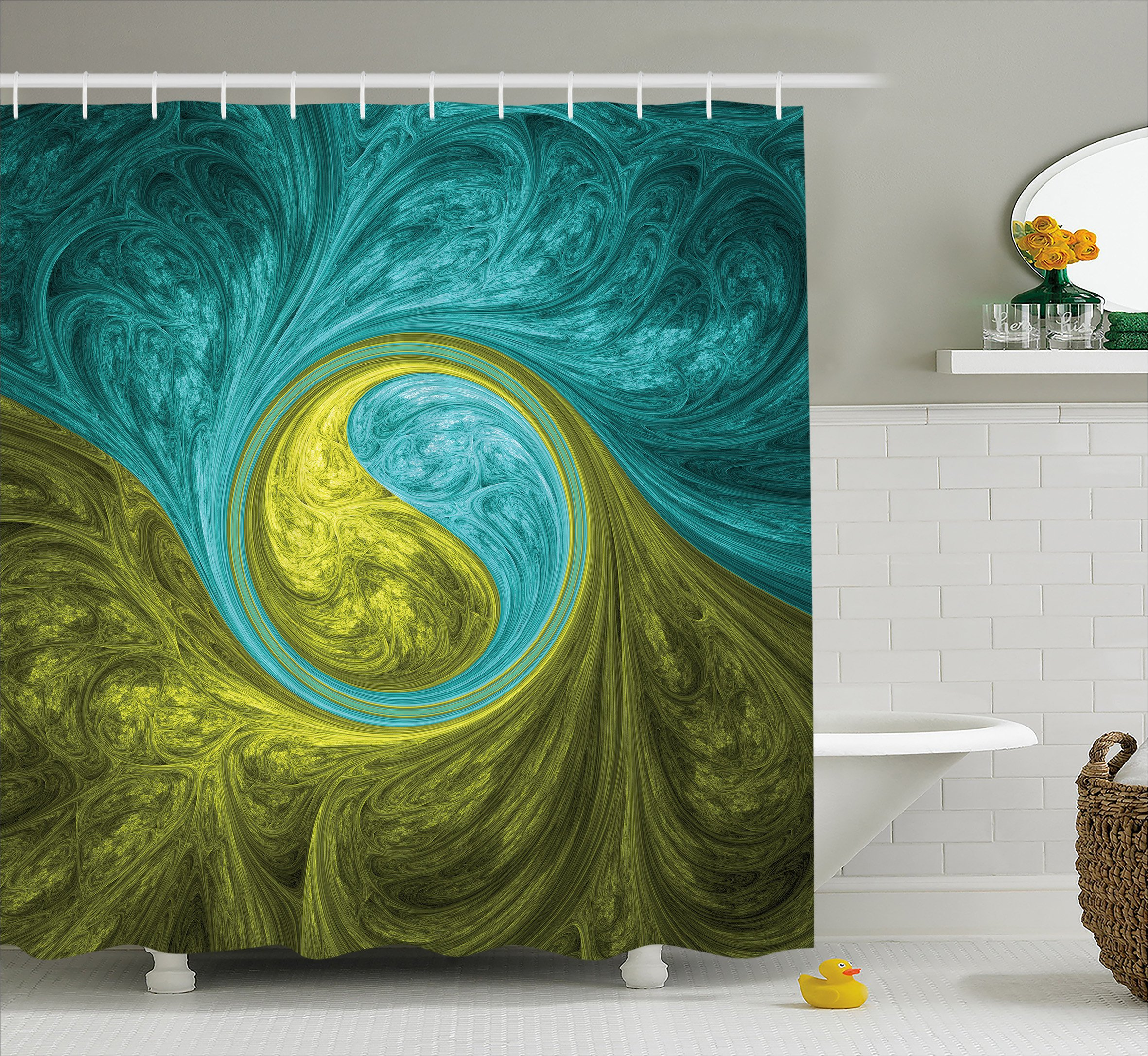 Ambesonne Spires Decor Shower Curtain, Zen Eastern Spiral Psychedelic Figure with Sunny Side Asian Ethnic Decor, Fabric Bathroom Decor Set with Hooks, 70 inches, Khaki and Teal