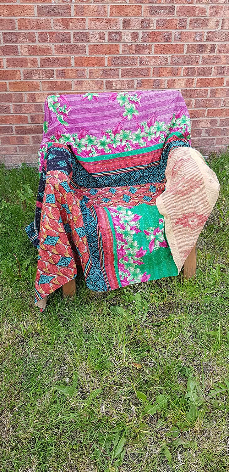 Niksim Collection Indian Handmade Single Size Cotton Vintage Patchwork Quilt Kantha embroidered Bedspread Throw Blanket armchair cover