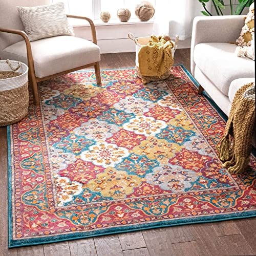 Well Woven Diana Blue Trellis Multi-Color Modern Area Rug 8×11 7'10″ x 10'6″ Yellow Oriental Lattice Panel Plush Super Soft Carpet