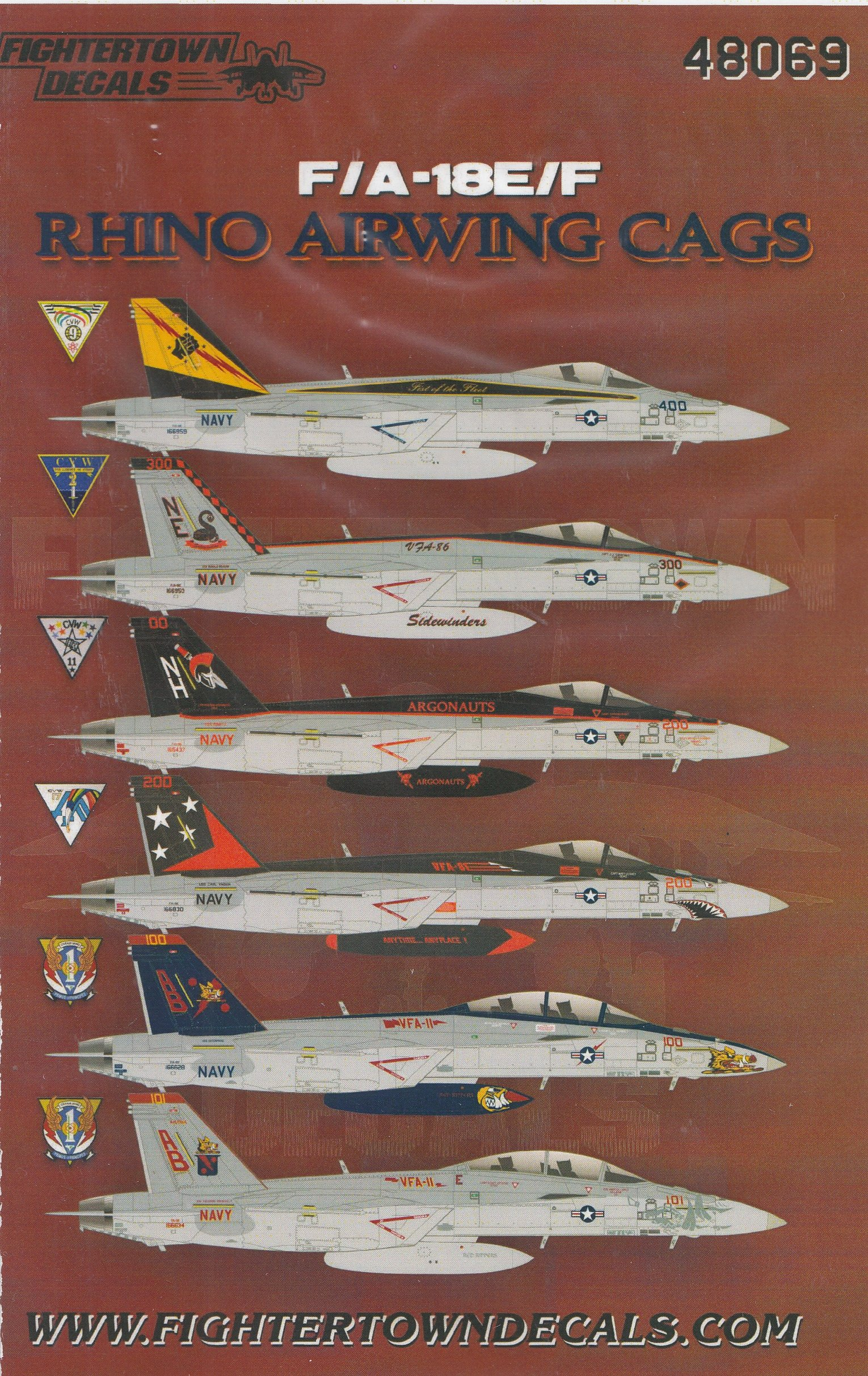 Fightertown Decals 48076 F//A-18E//F Rhino Airwing CAGS PT2 2015