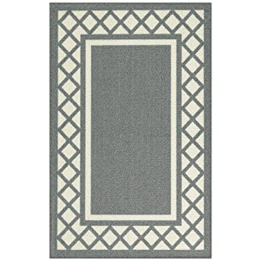 Maples Rugs Kitchen Rug - Bella 2'6 x 3'10 Non Skid Hallway Entry Rugs Accents [Made in USA] for Kitchen and Entryway, Light Grey