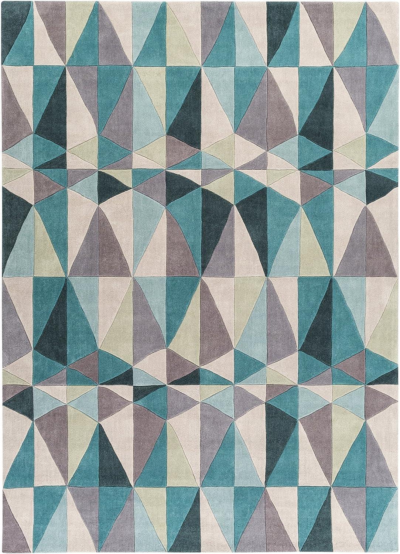 Amazon Com Surya Cosmopolitan Cos 9169 Transitional Hand Tufted 100 Polyester Teal Blue 8 X 11 Geometric Area Rug Furniture Decor