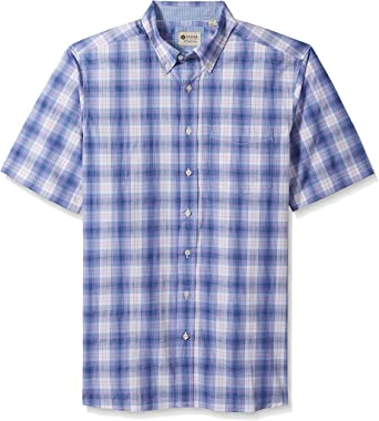 Haggar Mens Short Sleeve Poplin Woven Shirt