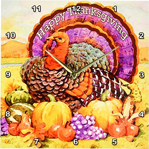 3dRose DPP_3206_2 Happy Thanksgiving Wall Clock, 13 by 13-Inch