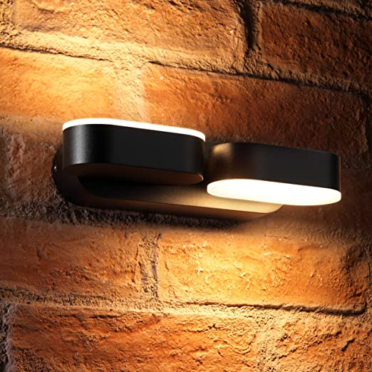 Auraglow 13w indoor outdoor integrated twin led up down swivel rotating wall light