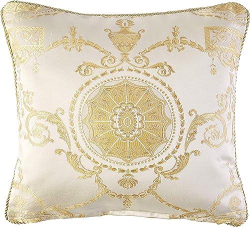 Violet Linen Prestige Damask Decorative Throw Pillow, 18 x 18 , Beige