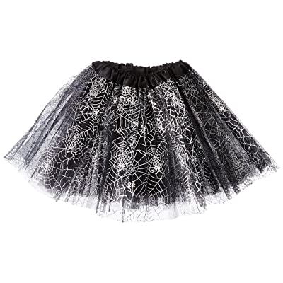Rush Dance Ballerina Recital Halloween Black & Silver Spider Webs Costume Tutu: Toys & Games