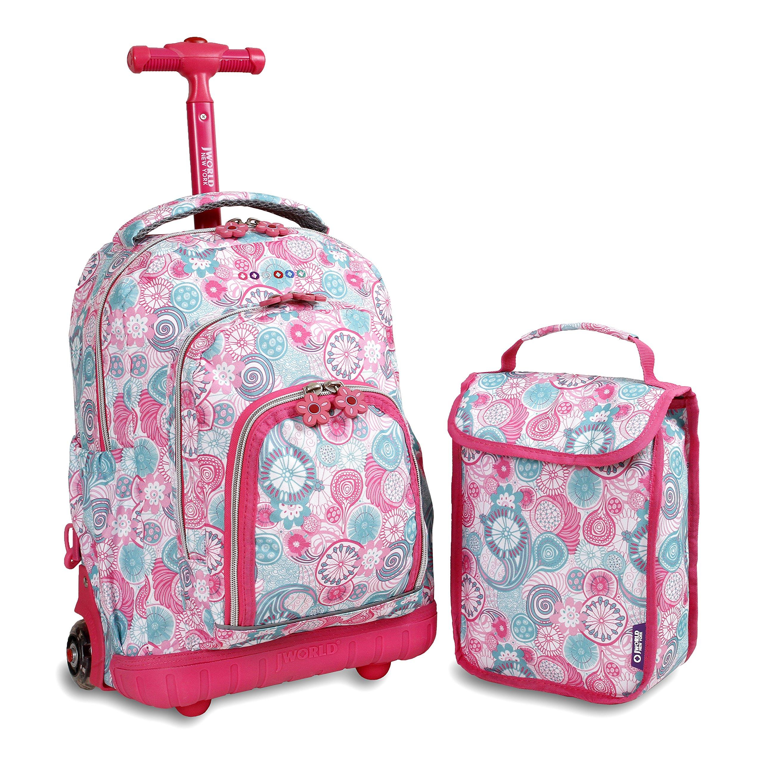 Kids Rolling Backpack Lunch Bag Girls Bookbag School Bento Holder Pink Blue