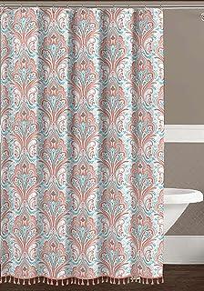 Paisley Floral Fabric Shower Curtain Elegant Orange Coral Aqua Grey White With Boho Fringe