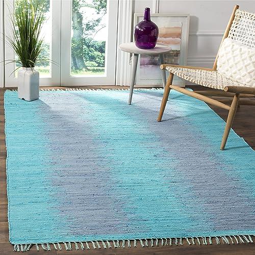 Safavieh Montauk Collection MTK718C Handmade Flatweave Turquoise Cotton Area Rug 3 x 5