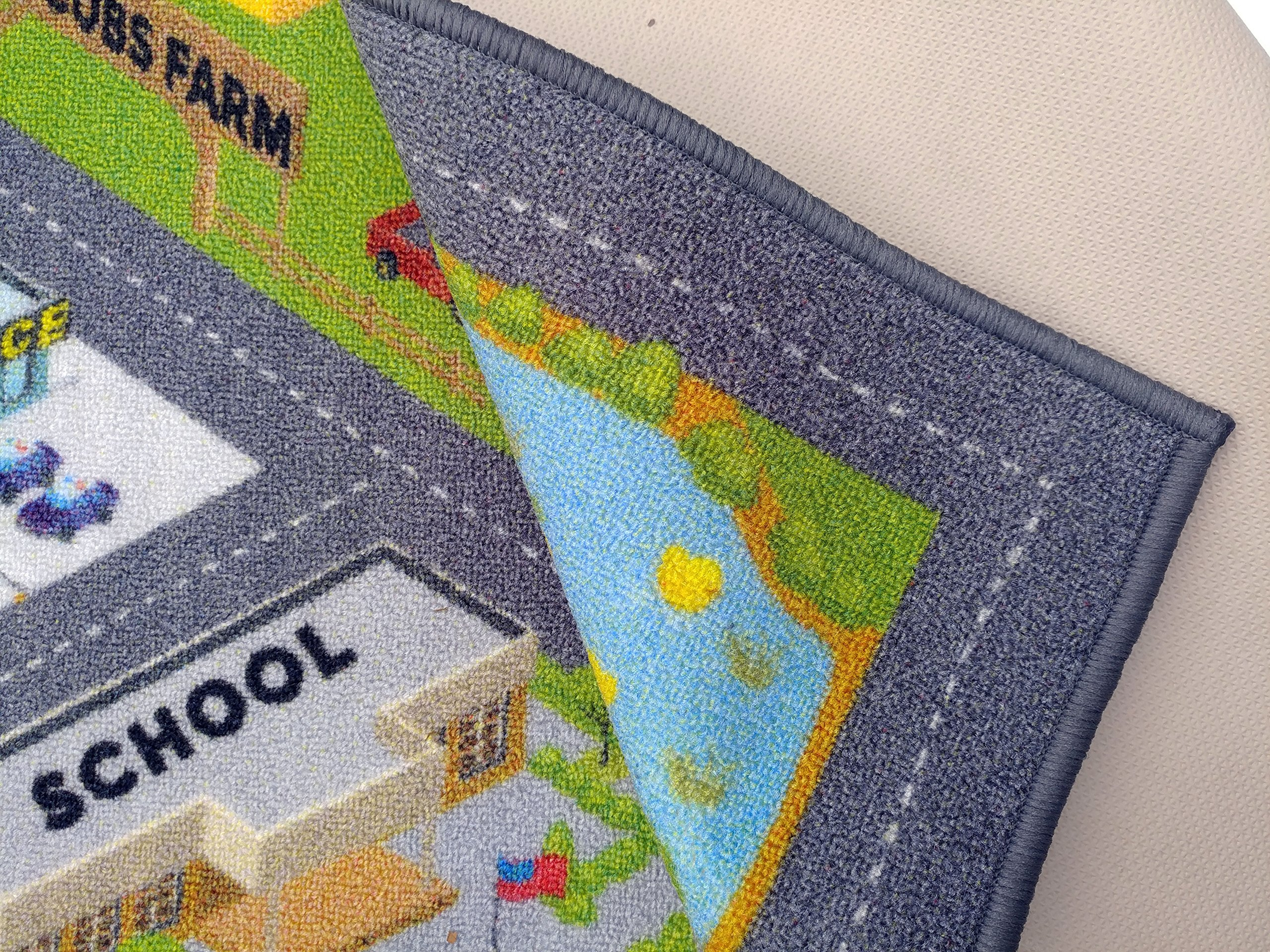 KC Cubs Playtime Collection Country Farm Road Map with Construction Site Educational Learning Area Rug Carpet for Kids and Children Bedroom and Playroom (3' 3'' x 4' 7'') by Kev & Cooper (Image #4)