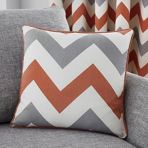 Fusion Chevron - Cojín Relleno de algodón, Color Terracota, algodón, Teracota, Cushion (Filled): 43 x 43cm: Amazon.es: Hogar