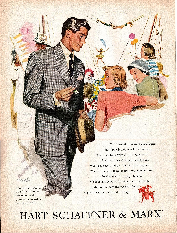 Amazon.com : 1950 Mens Wool Suit- Hart Schaffner Original 13.5 * 10.5  Magazine Ad-Dixie Weave : Everything Else