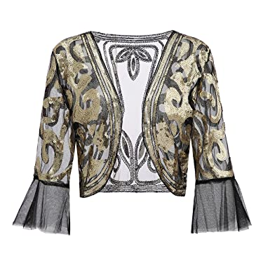 71de6e73 Metme Sequin Jacket Open Front Glitter Cropped Bolero Shrug 2/3 length Bell  Sleeves Lace
