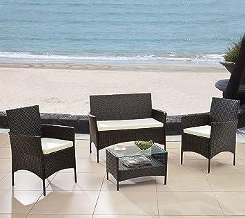 Modern Outdoor Garden, Patio 4 Piece Seat   Gray, Black Wicker Sofa  Furniture Set
