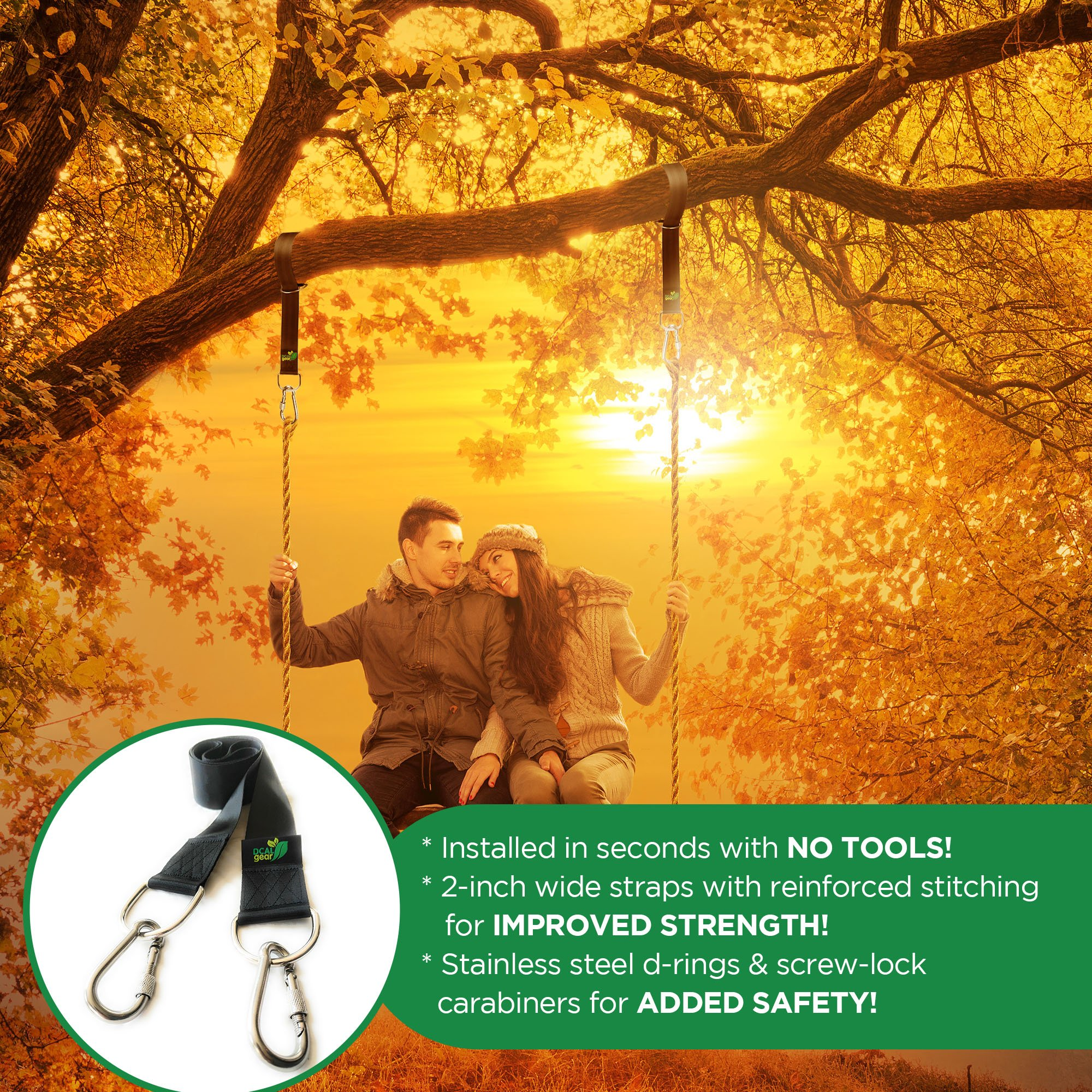 Best Tree Swing Hanging Kit - Easy 30 Sec Install on Outdoor Toys - Two 5 ft Tree Straps Hold 2000 lb - Safe, Large Carabiners & D Rings - Fits Hammocks & Most Swing Seats - Better Than Chain or Rope! by DCAL Gear (Image #5)