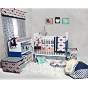 Bacati Emma Aztec 10 Piece Nursery-in-a-Bag Cotton Percale Girls Crib Bedding Set with Bumper Pad, Coral/Mint/Navy
