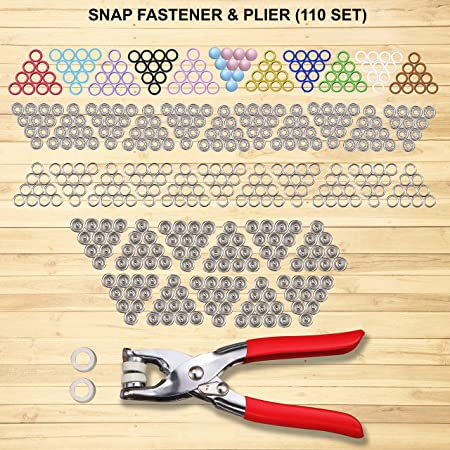 Snap Buttons Fasteners 20 Colors Poppers with Snap Pliers Cloth Repairs 400 Sets