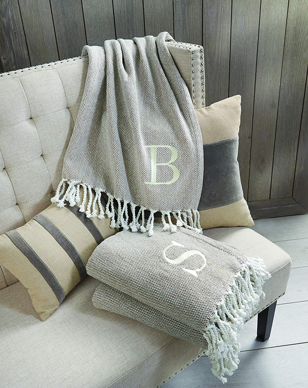 Shop Mud Pie Woven Cotton Initial W Throw Blanket, Taupe from Amazon on Openhaus