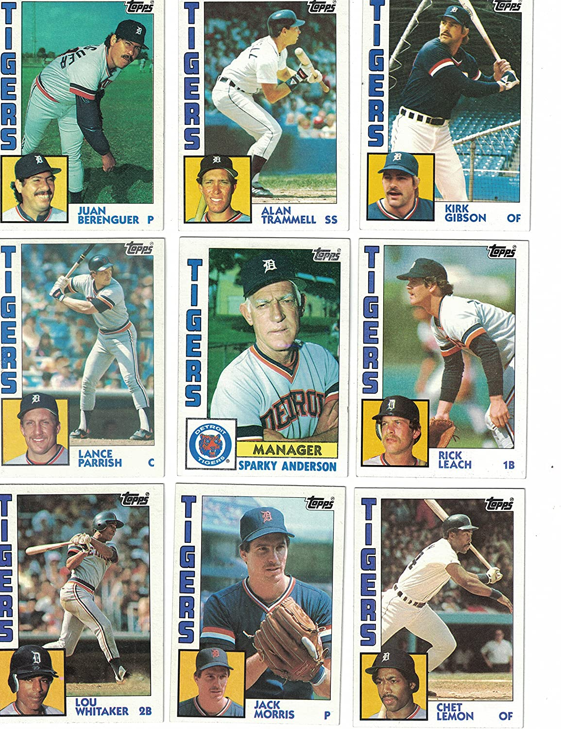 1984 Topps DETROIT TIGERS Team Set