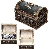 Forged Dice Co. Deluxe Skull and Bones Dice Storage Chest Box - Container holds up to 10 sets of Polyhedral Dice or 70 Individual Dice