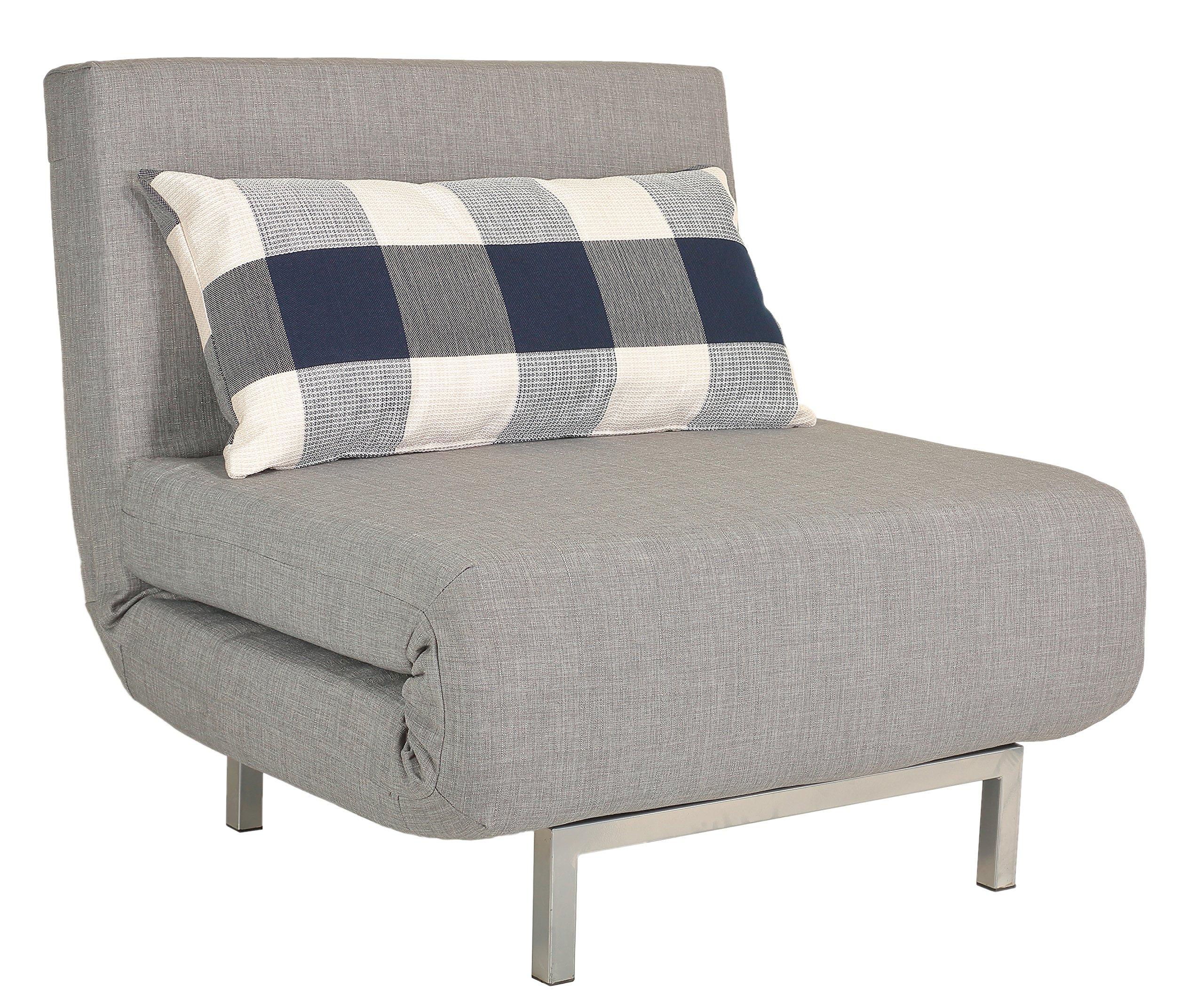 Cortesi Home Savion Convertible Accent Chair Bed, Grey