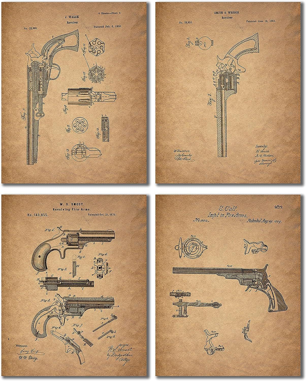 Gun Patent Wall Art Prints - Set of 4 Antique Firearm Photos - Smith and Wesson - Samuel Colt