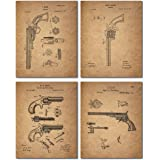 Gun Patent Wall Art Prints - Set of 4 Antique Firearm Photos - Smith and Wesson - Samuel Colt